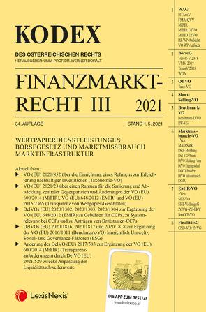 Kodex Finanzmarktrecht Band III 2021 von Doralt,  Werner, Egger,  Bernhard