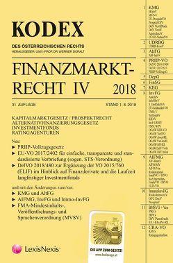 KODEX Finanzmarktrecht Band IV 2018 von Doralt,  Werner, Egger,  Bernhard