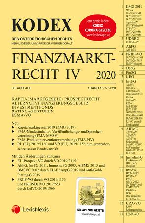 KODEX Finanzmarktrecht Band IV 2020 von Doralt,  Werner, Egger,  Bernhard