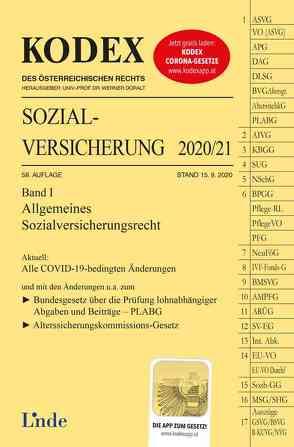 KODEX Sozialversicherung 2020/21, Band I von Brameshuber,  Elisabeth, Doralt,  Werner