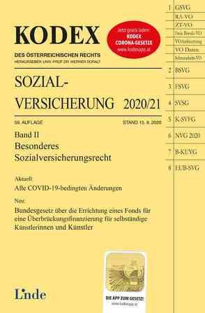 KODEX Sozialversicherung 2020/21, Band II von Brameshuber,  Elisabeth, Doralt,  Werner