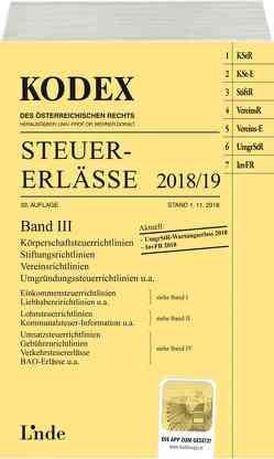 KODEX Steuer-Erlässe 2018/19 Band III von Bodis,  Andrei, Doralt,  Werner