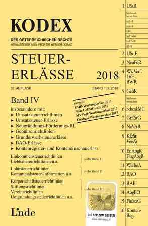KODEX Steuer-Erlässe 2018, Band IV von Bodis,  Andrei, Doralt,  Werner