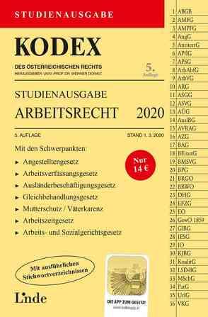KODEX Studienausgabe Arbeitsrecht 2020 von Doralt,  Werner, Ercher-Lederer,  Gerda, Stech,  Edda