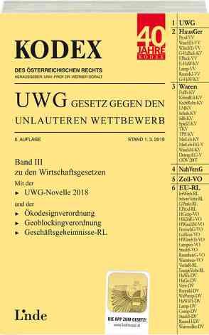 KODEX UWG Gesetz gegen den unlauteren Wettbewerb 2018/19 von Doralt,  Werner, Konetzky,  Georg