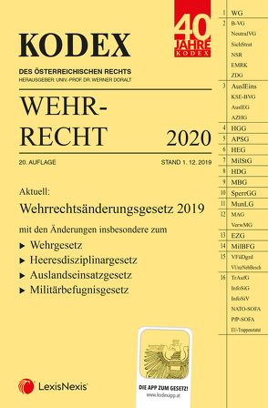KODEX Wehrrecht 2020 von Doralt,  Werner, Edlinger,  Andreas