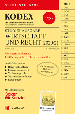 KODEX Wirtschaft und Recht 2020/21 von Doralt,  Werner