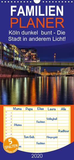 Köln dunkel bunt – Die Stadt in anderem Licht! – Familienplaner hoch (Wandkalender 2020 , 21 cm x 45 cm, hoch) von Brüggen,  Peter