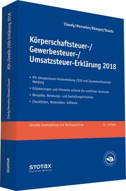 Körperschaftsteuer-, Gewerbesteuer-, Umsatzsteuer-Erklärung 2018 von Claudy,  Björn, Henseler,  Frank, Kümper,  Andreas, Staats,  Annette