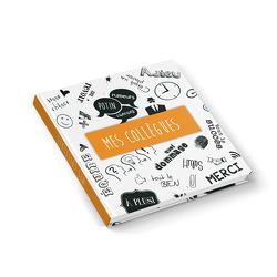 """Kollegenbuch """"Doodles FRANZÖSISCH"""" orange weiß schwarz (Hardcover 21×21 cm, Blankoseiten)"""
