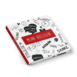 """Kollegenbuch """"Doodles"""" weiß schwarz rot (Hardcover 21×21 cm, Blankoseiten)"""