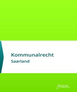Kommunalrecht Saarland von Societas Verlagsgesellschaft,  (ein Imprint des Liberal Arts Verlages)