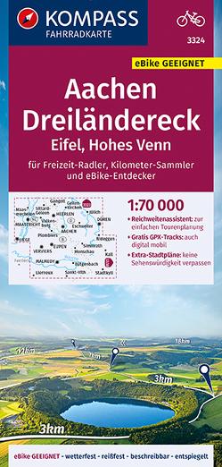 KOMPASS Fahrradkarte Aachen, Dreiländereck, Eifel, Hohes Venn 1:70.000, FK 3324 von KOMPASS-Karten GmbH