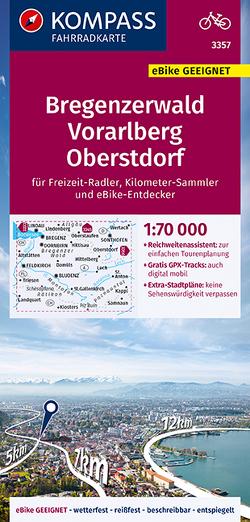 KOMPASS Fahrradkarte Bregenzerwald, Vorarlberg, Oberstdorf 1:70.000 FK 3357
