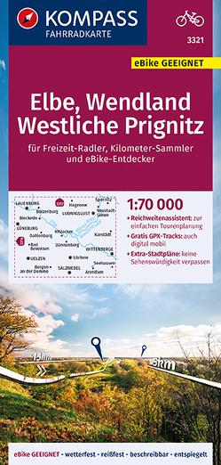 KOMPASS Fahrradkarte Elbe, Wendland, Westliche Prignitz 1:70.000, FK 3321 von KOMPASS-Karten GmbH