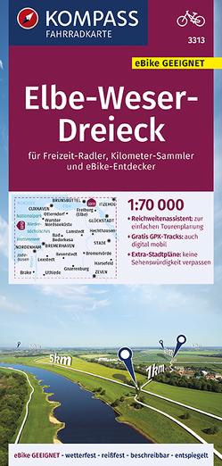 KOMPASS Fahrradkarte Elbe-Weser-Dreieck 1:70.000, FK 3313 von KOMPASS-Karten GmbH