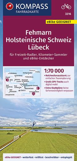 KOMPASS Fahrradkarte Fehmarn, Holsteinische Schweiz, Lübeck 1:70.000, FK 3316 von KOMPASS-Karten GmbH