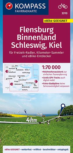 KOMPASS Fahrradkarte Flensburg Binnenland, Schleswig, Kiel 1:70.000, FK 3310 von KOMPASS-Karten GmbH