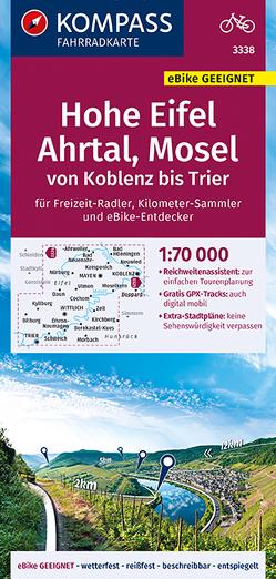 KOMPASS Fahrradkarte Hohe Eifel, Ahrtal, Mosel, von Koblenz bis Trier 1:70.000, FK 3338 von KOMPASS-Karten GmbH