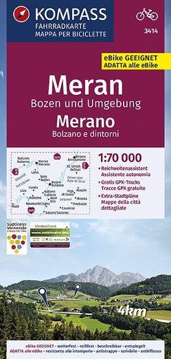 KOMPASS Fahrradkarte Meran, Bozen und Umgebung, Merano, Bolzano e dintorni 1:70.000, FK 3414 von KOMPASS-Karten GmbH