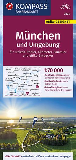 KOMPASS Fahrradkarte München und Umgebung 1:70.000, FK 3334 von KOMPASS-Karten GmbH