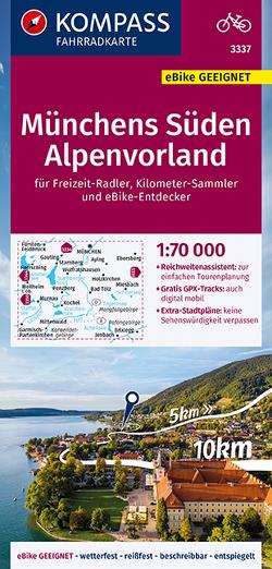 KOMPASS Fahrradkarte Münchens Süden, Alpenvorland 1:70.000, FK 3337 von KOMPASS-Karten GmbH