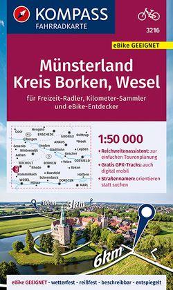 KOMPASS Fahrradkarte Münsterland, Kreis Borken, Wesel 1:50.000, FK 3216 von KOMPASS-Karten GmbH