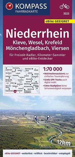 KOMPASS Fahrradkarte Niederrhein, Kleve, Wesel, Krefeld, Mönchengladbach, Viersen 1:70.000, FK 3323 von KOMPASS-Karten GmbH