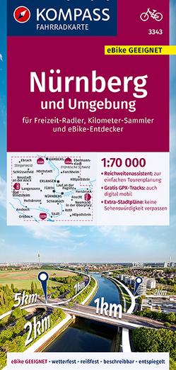 KOMPASS Fahrradkarte Nürnberg und Umgebung 1:70.000, FK 3343 von KOMPASS-Karten GmbH