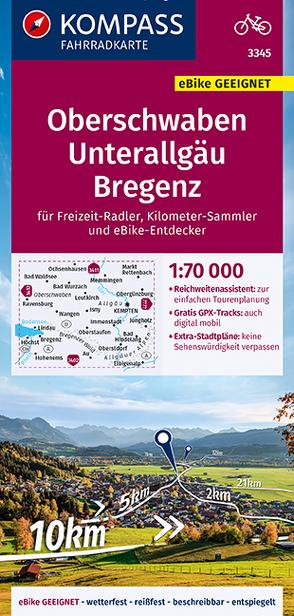 KOMPASS Fahrradkarte Oberschwaben, Unterallgäu, Bregenz 1:70.000, FK 3345 von KOMPASS-Karten GmbH