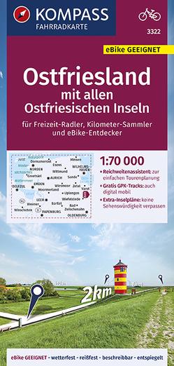 KOMPASS Fahrradkarte Ostfriesland mit allen Ostfriesischen Inseln 1:70.000, FK 3322 von KOMPASS-Karten GmbH