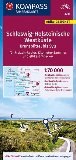 KOMPASS Fahrradkarte Schleswig-Holsteinische Westküste, Brunsbüttel bis Sylt 1:70.000, FK 3311 von KOMPASS-Karten GmbH