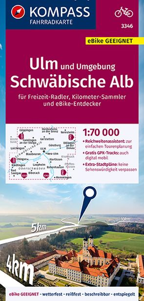 KOMPASS Fahrradkarte Ulm und Umgebung, Schwäbische Alb 1:70.000, FK 3346 von KOMPASS-Karten GmbH