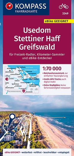 KOMPASS Fahrradkarte Usedom, Stettiner Haff, Greifswald 1:70.000, FK 3349 von KOMPASS-Karten GmbH