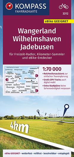KOMPASS Fahrradkarte Wangerland, Wilhelmshaven, Jadebusen 1:70.000, FK 3312 von KOMPASS-Karten GmbH