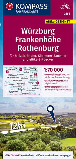 KOMPASS Fahrradkarte Würzburg, Frankenhöhe, Rothenburg 1:70.000, FK 3353 von KOMPASS-Karten GmbH
