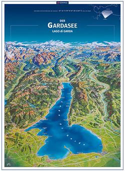 KOMPASS Panorama Der Gardasee, Lago di Garda, Poster von KOMPASS-Karten GmbH