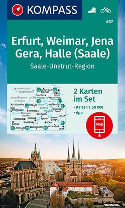 KOMPASS Wanderkarte Erfurt, Weimar, Jena, Gera, Halle (Saale) von KOMPASS-Karten GmbH
