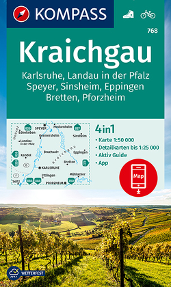 KOMPASS Wanderkarte Kraichgau, Karlsruhe, Landau i. d. Pfalz, Speyer, Sinsheim, Eppingen, Bretten, Pforzheim von KOMPASS-Karten GmbH