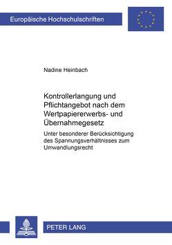 Kontrollerlangung und Pflichtangebot nach dem Wertpapiererwerbs- und Übernahmegesetz von Rittner,  Nadine