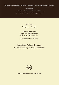 Konvektiver Wärmeübergang bei Verbrennung in der Grenzschicht von Buhr,  Egon