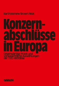 Konzernabschlüsse in Europa von Bartholomew,  E. G.