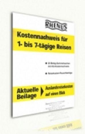 Kostennachweis für 1 bis 7 tägige Reisen von Rhenus-Verlags GmbH