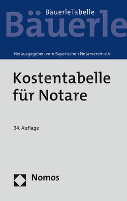 Kostentabelle für Notare von Bayerischen Notarverein e.V.
