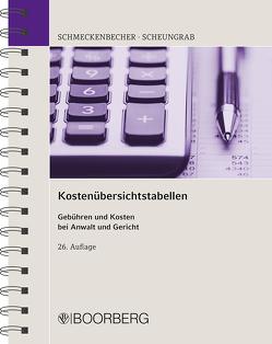 Kostenübersichtstabellen von Scheungrab,  Karin, Schmeckenbecher,  Manfred