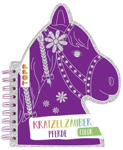 Kratzelzauber Color Pferde (Kratzelbuch in Pferdekopfform) von frechverlag