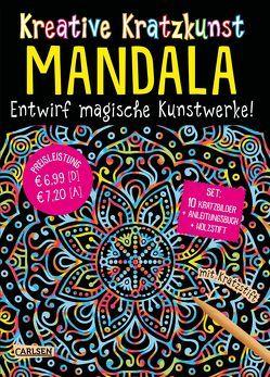Kreative Kratzkunst: Mandala: Set mit 10 Kratzbildern, Anleitungsbuch und Holzstift von Poitier,  Anton