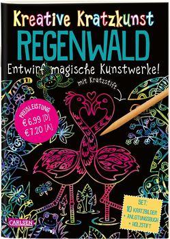 Kreative Kratzkunst: Regenwald: Set mit 10 Kratzbildern, Anleitungsbuch und Holzstift von Poitier,  Anton