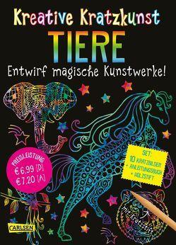 Kreative Kratzkunst: Tiere: Set mit 10 Kratzbildern, Anleitungsbuch und Holzstift von Poitier,  Anton