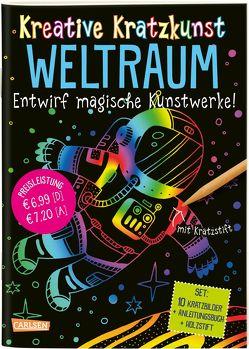 Kreative Kratzkunst: Weltraum: Set mit 10 Kratzbildern, Anleitungsbuch und Holzstift von Poitier,  Anton